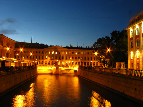 The Kanal Griboedeva and bridges at night. Photo by thisisbossi.