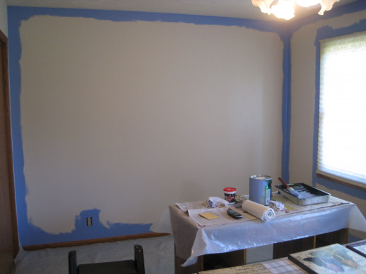 Blue trim added to white walls.