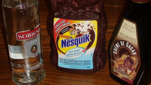 Liquid Ingredients:  Vodka, Creme de Cacao, and Chocolate Syrup.