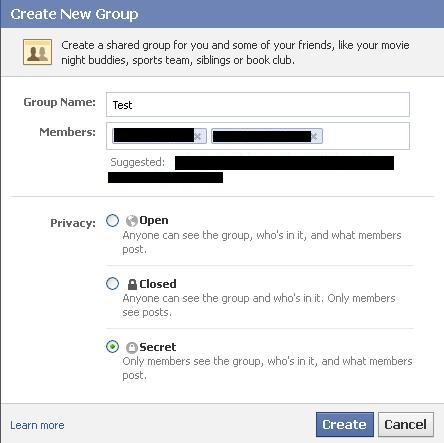 """Enter your group's information and then select """"Secret"""" beneath Privacy."""