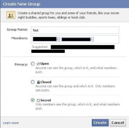 "Enter your group's information and then select ""Secret"" beneath Privacy."