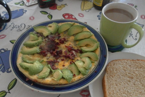 Tamarillo and avocado omelette for breakfast