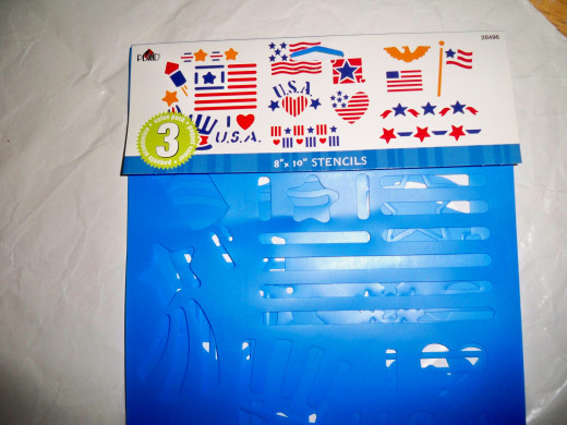 Patriotic stencils can be used to embellish your own designs.