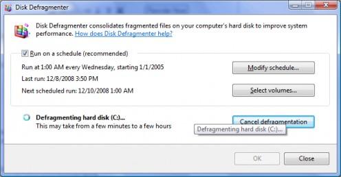 The Windows Vista Defragmenter