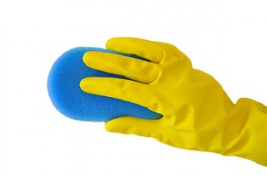 Protect your hands with rubber gloves