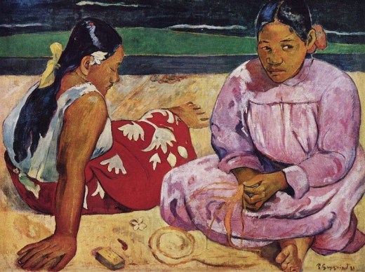 "Paul Gauguin's ""Tahitian Women on the Beach"" (Femmes de Tahiti, ou Sur la plage) was painted in 1891."