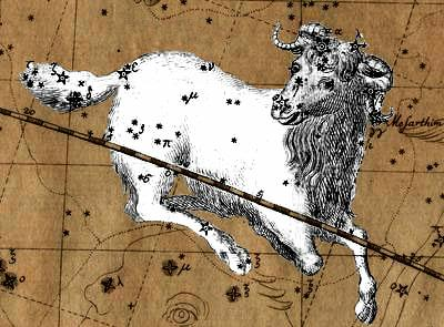 The constellation Aries.  Aries is the first sign of the Zodiac and begins on the left side (or west side) of the Zodiac wheel.  The symbol for an Aries is the ram.