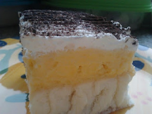 One slice of Vanilla Pudding Cake