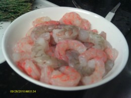 There are many types of shrimp.  In this making we used two kinds. The Red Tail shrimp was sweeter.