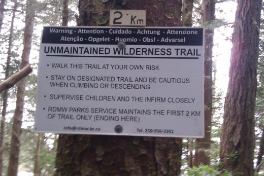 Thought provoking sign could probably be better positioned on the trail - but at least it gives fair warning in enough languages!
