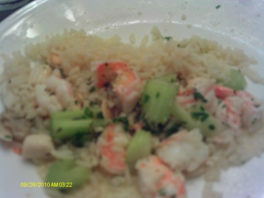 A tasty meal of Seafood Salad on rice.