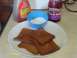 Dairy free French Toast made with orange juice.