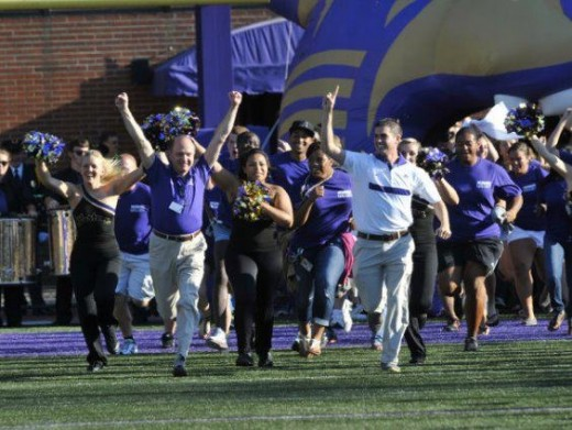 Chancellor Belcher and Student Government President T.J Eaves, lead the freshman across the field at the first home game of the Fall 2011football season!