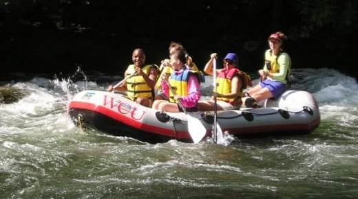 Whitewater rafting in the Nantahala River, with Base Camp Cullowhee.