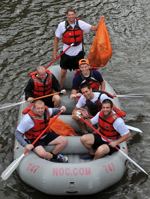 A picture taken from the annual Tuck River Cleanup.