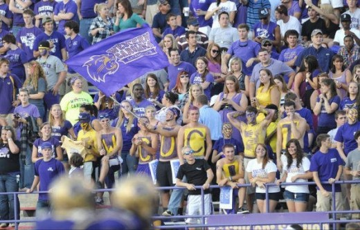 Only a small section of the very huge student section at the football games.
