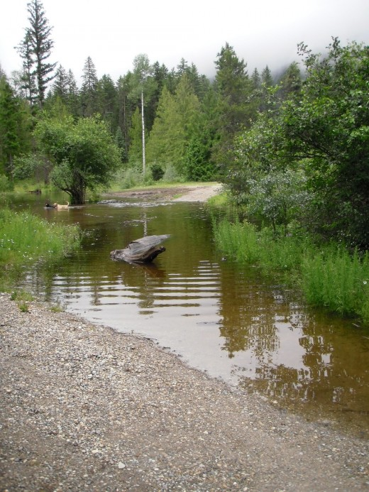 Roads in Skimikin Lake Forest Recreation Site are flooded.