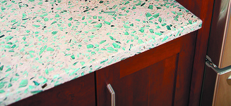 Give your countertops the look of terrazzo with recycled glass!