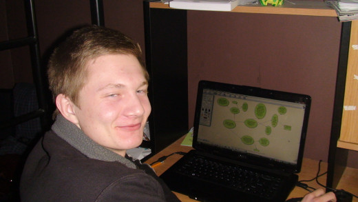 Connor using Inspiration, a mind mapping program that is part of his assistive technology arsenal.