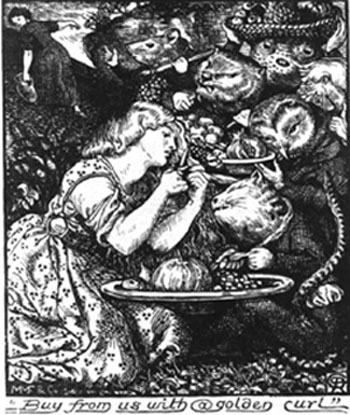 D.G. Rossetti, illustration from the 1865, 2nd edition of Goblin Market and Other Poems (Macmillan).