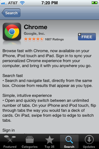 The Google Chrome Info screen in the App Store.