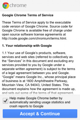Accept the Google Chrome Terms of Service.