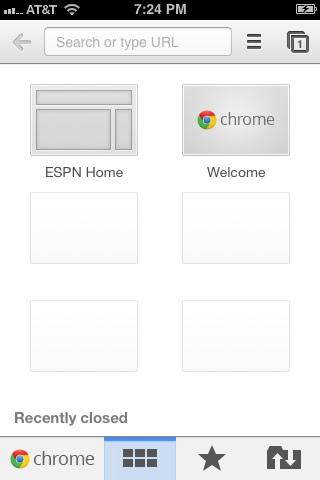The Google Chrome app's home screen is also the Most Visited screen.