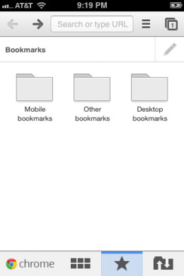 You can create bookmarks unique to your mobile Google Chrome app and also access your desktop client's bookmarks.