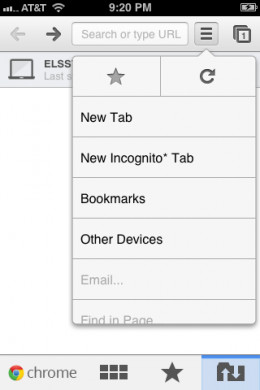 The Settings icon in the upper-right corner lets you access device settings, open a new tab, open an incognito tab and more.