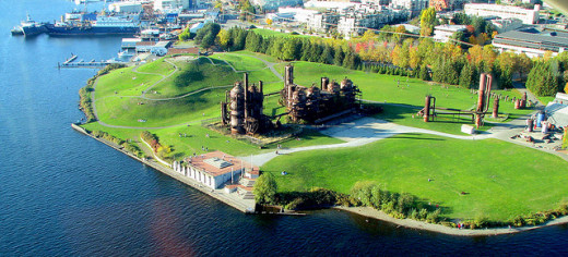 Aerial view of Gas Works Park.