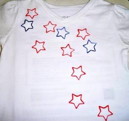 Beginning to add blue stars.