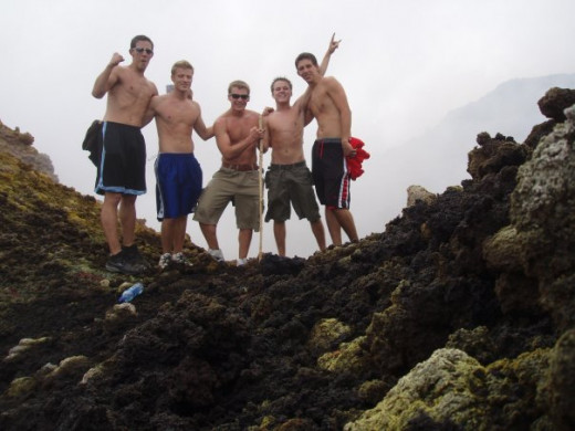 A few of us at the peak of Mt, Pacaya, the volcano we hiked up during our trip to Guatemala.