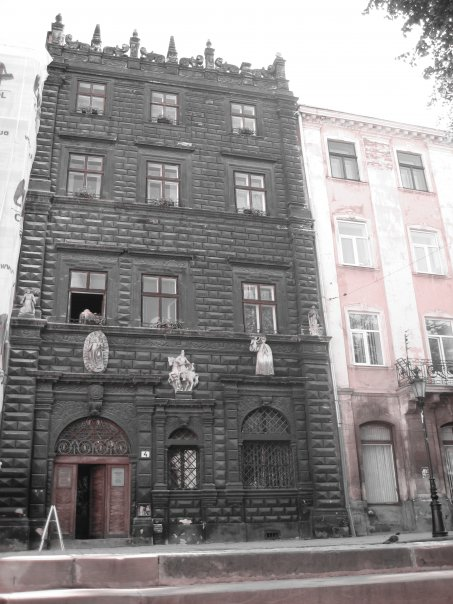Ancient homes with colorful facades line the streets... The dark one has been converted into a museum to the Ukrainians abroad