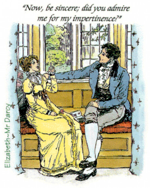 "C. E. Brock illustrated this picture of Elizabeth Bennett and Mr. Darcy for Jane Austen's ""Pride and Prejudice."""
