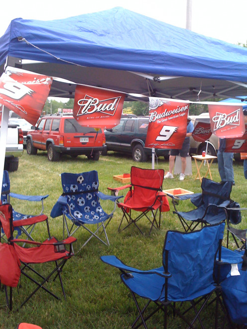Our tailgating set up in the front parking lot at Richmond International Raceway.