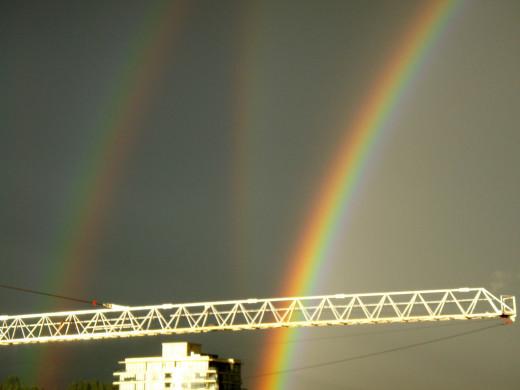 a triple rainbow