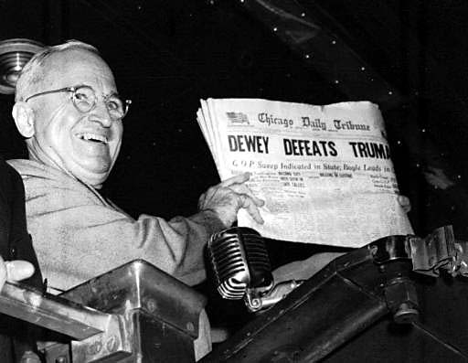 President-elect Truman having a good laugh in 1948.