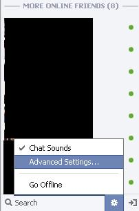 """Click the """"Options"""" icon and then click """"Advanced Settings."""""""