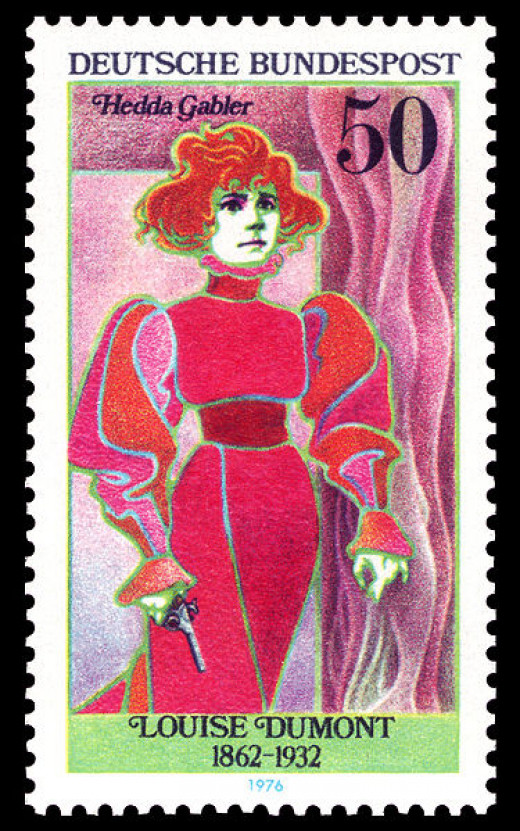 A stamp showing Louise Dumont as Hedda Gabler, issued by the German Post Office in 1976.