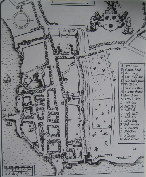 This hand drawn map shows the extent of the city's walls after 1338.