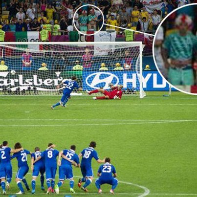 One England fan comes up with an inspired way to distract Diamante as he takes Italy's decisive penalty