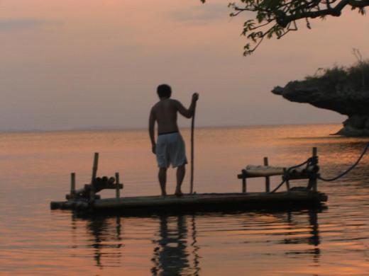 Me on a boat at Villa Balinmanok