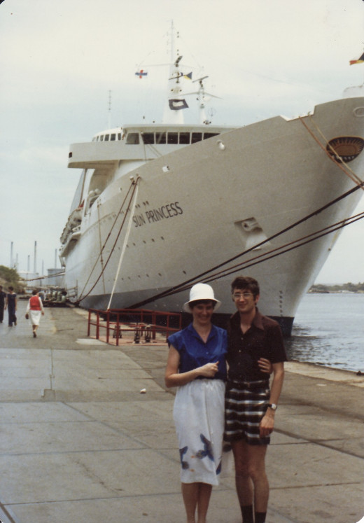 Marilyn and I standing in front of the Sun Princess in Curacao in 1980