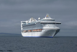 The 3,000+ passenger Caribbean Princess cruise ship in Kirkwall harbour in the Orkney Islands, Scotland UK in 2012.