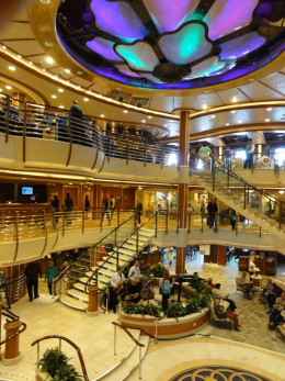 The three floor main lobby on the Caribbean Princess in 2012.