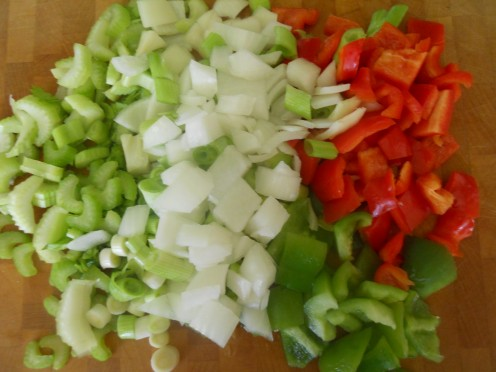 Chop veggies into bite sized pieces...