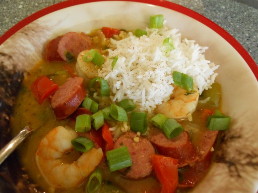 Fresh Veggies, Spices, Shrimp and Sausage make this a Sumptuous Soup!