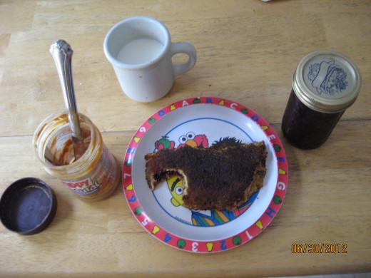 Peanut Butter and Raspberry Jam Sandwich On Corn Flatbread