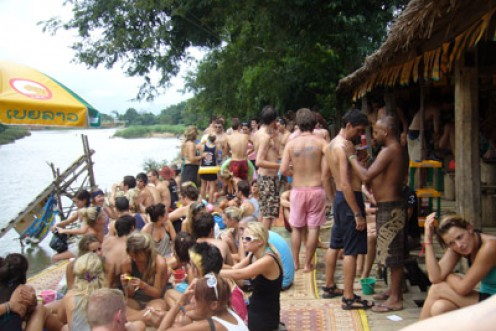 A typical party bar along the Nam Song River