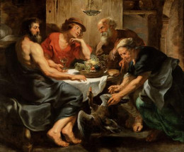 """Jupiter and Mercurius in the house of Philemon and Baucis"" (by Peter Paul Rubens; completed between 1630-1633).  An ancient Roman story depicts Jupiter and Mercury visiting the household of a poor couple, Philemon and Baucis who warmly receive them."